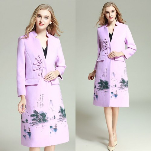Europe and the United States money market innovative modern fresh printing wool coat long woolen coat winter style