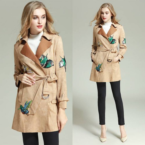 European Grand Prix women's high-end embroidery windbreaker jacket new autumn and winter coat lapel waistband style jacket discount