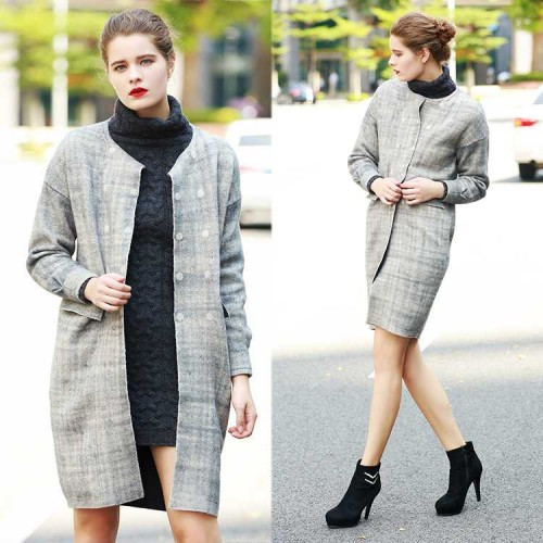 Europe station manually double-sided high-end brands Slim winter long cashmere coat style double-sided wool coat