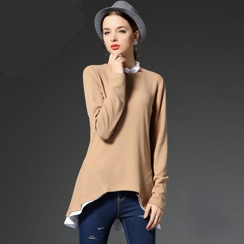 European market and the US market large size women's Autumn new models overweight ladies lace collar irregular 200 pounds overweight ladies knitwear