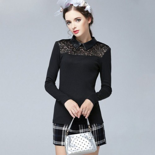 European market and the US market large size women's Autumn new models overweight ladies lapel openwork lace stitching long-sleeved knit shirt