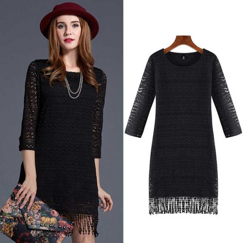European market and the US market large size women's Autumn new style body overweight Lace Slim Slim fringed dress