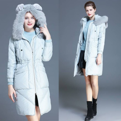 Ms. Down long style thicken hooded collar Nagymaros European market and the US market new models Slim slim white duck down jacket
