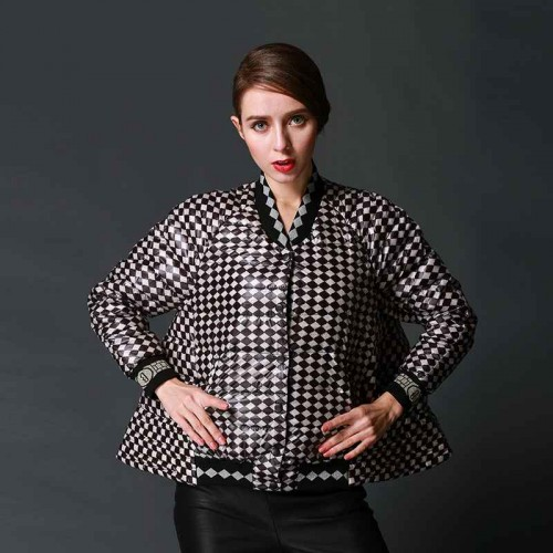 Discount Hot autumn and winter super soft ultra-light black and white plaid jacket
