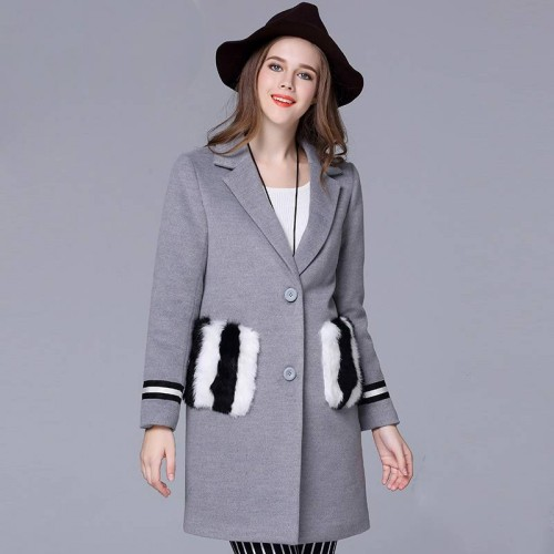 Large size women in Europe and America market winter new style of overweight ladies long style wool coat lapel materials plus thick cotton coat