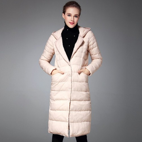 Winter new style of long style down jacket Ms. European market and the US market cocoon loose casual hooded all match Slim
