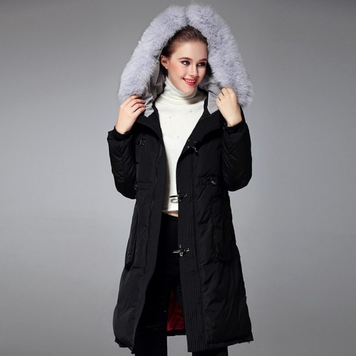 Autumn and winter new models in Europe and the US market fashion Slim Slim fox fur collar side pull hem length style jacket