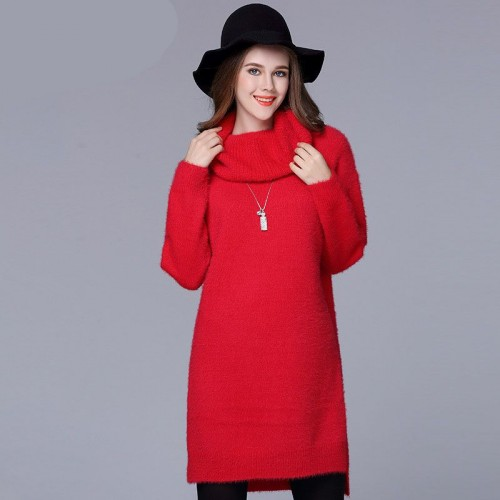 Large size women in Europe and the US market increased easing winter new style of overweight ladies long style high-necked sweater bottoming split style