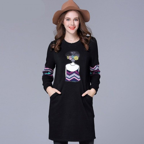 Promotional price large size women members of overweight ladies European market and the US market the new winter styles overweight ladies slim plus thick velvet dress bottoming