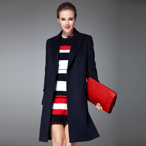 Popular autumn and winter new style double-breasted cashmere coat lapel Slim