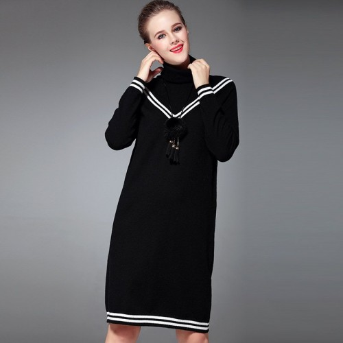 Fall Winter new style high-necked long-sleeved knit dress V-fight