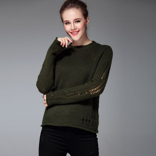The new autumn and winter style fashion casual slim simple turtleneck sweater hollow sweater