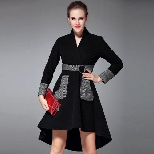 Ms. autumn and winter fashion discount new style V-shaped collar long-sleeved dress Slim put on a large irregular Promotions