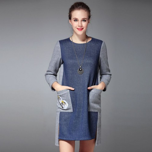 Fall Winter new style short in front long dress jeans stitching