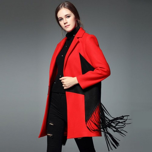 Europe station new autumn and winter fashion models lapel long-sleeved personalized five-pointed star pattern tassel long style coat jacket