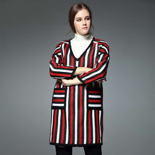 All matching short dress style autumn and winter new models in Europe and the US market casual fashion V-shaped collar vertical stripe wool skirt backing material