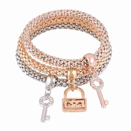 European market and the US export market three-color diamond alloy key lock shape elastic bracelet multilayer corn creative hand jewelry Bracelet Set