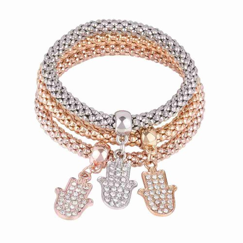 Europe and the United States market new models palm alloy diamond bracelet pendant corn tricolor suit elastic bracelets bracelets discounts