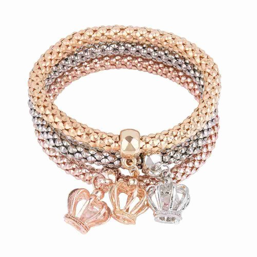 Europe and the US corn market fashion diamond alloy crown bracelet tricolor bracelet multilayer bracelet simple discount