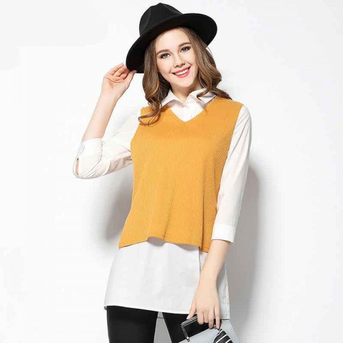 2017 spring new models large size women's figure partial fat lady slim knitted cotton vest stitching piece sleeve shirt