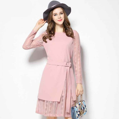 2017 spring new models in Europe and the US market large size women's figure partial fat lady waist lace stitching lace long-sleeved two-piece dress