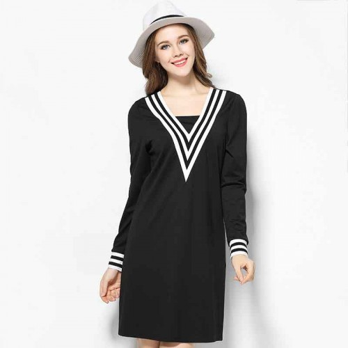 2017 spring new models large size women's figure partial fat lady Slim Slim v-collar long-sleeved dress stitching lines special discounts