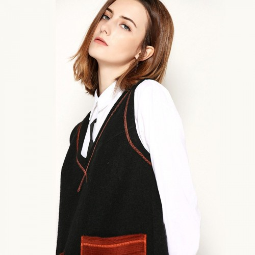 Autumn and winter new models in Europe and the US market fashion V-shaped collar big pocket decoration material colorful wool vest skirt dress all matches