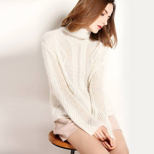 Autumn and winter new models in Europe and the US market fashion solid color high-necked long-sleeved sweater bottoming shirt fashion