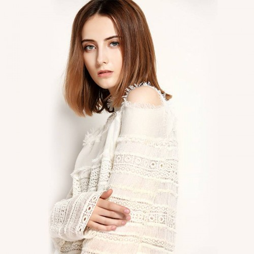 The new autumn and winter fashion models lace stitching stand up collar strapless long-sleeved shirt small shirt