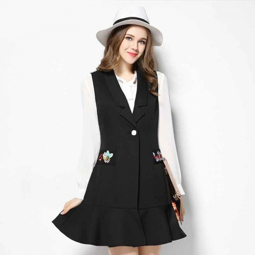 2017 spring new models in Europe and the US market large size women's figure partial fat lady slim suit collar irregular hem vest dress