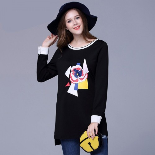 European market and the US market large size women's 2017 spring new models overweight ladies fashion printed long-sleeved T-shirt style Blouse