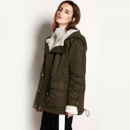 Autumn and winter new models in Europe and the United States market-based fashion hooded down jacket waist rope