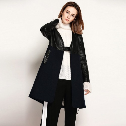 The new winter models in Europe and the US market fashion deep V-shaped collar wool material stitching pu material temperament style long jacket coat