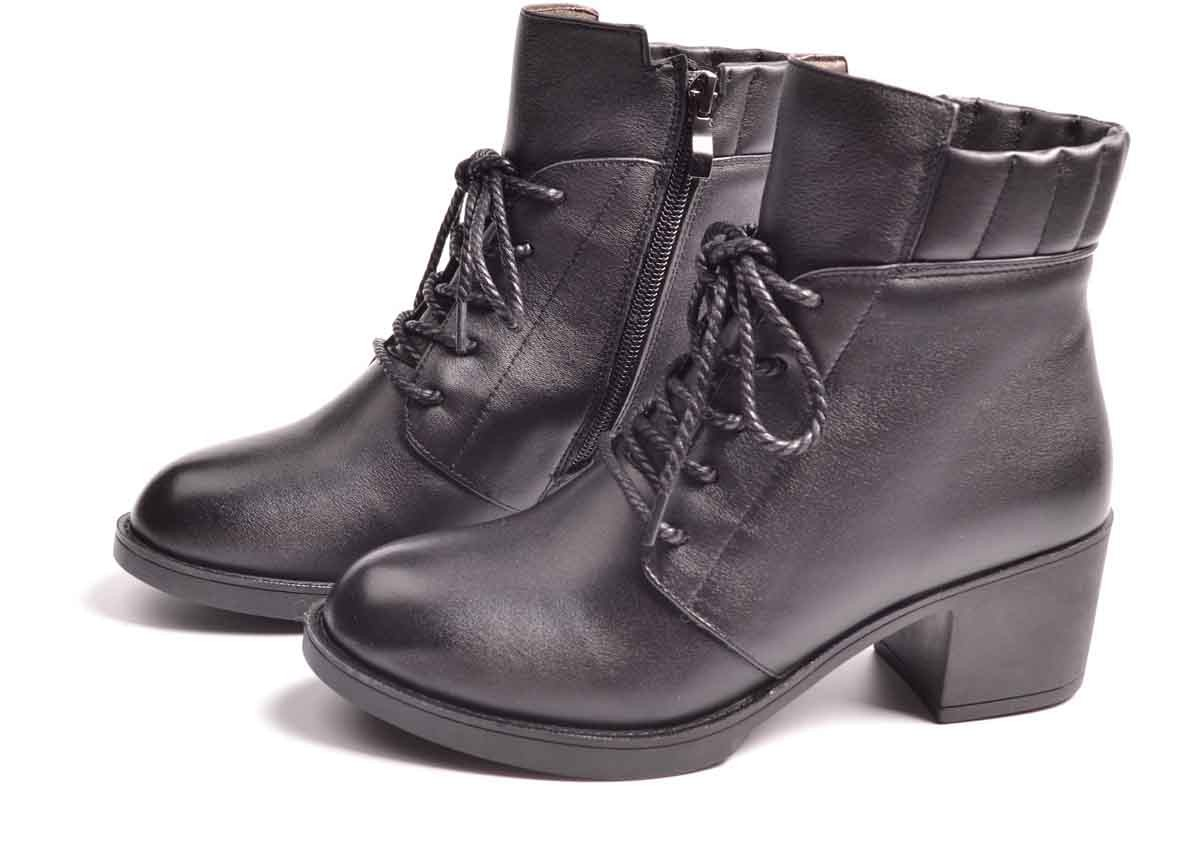 Brand fashion leather black ankle boots