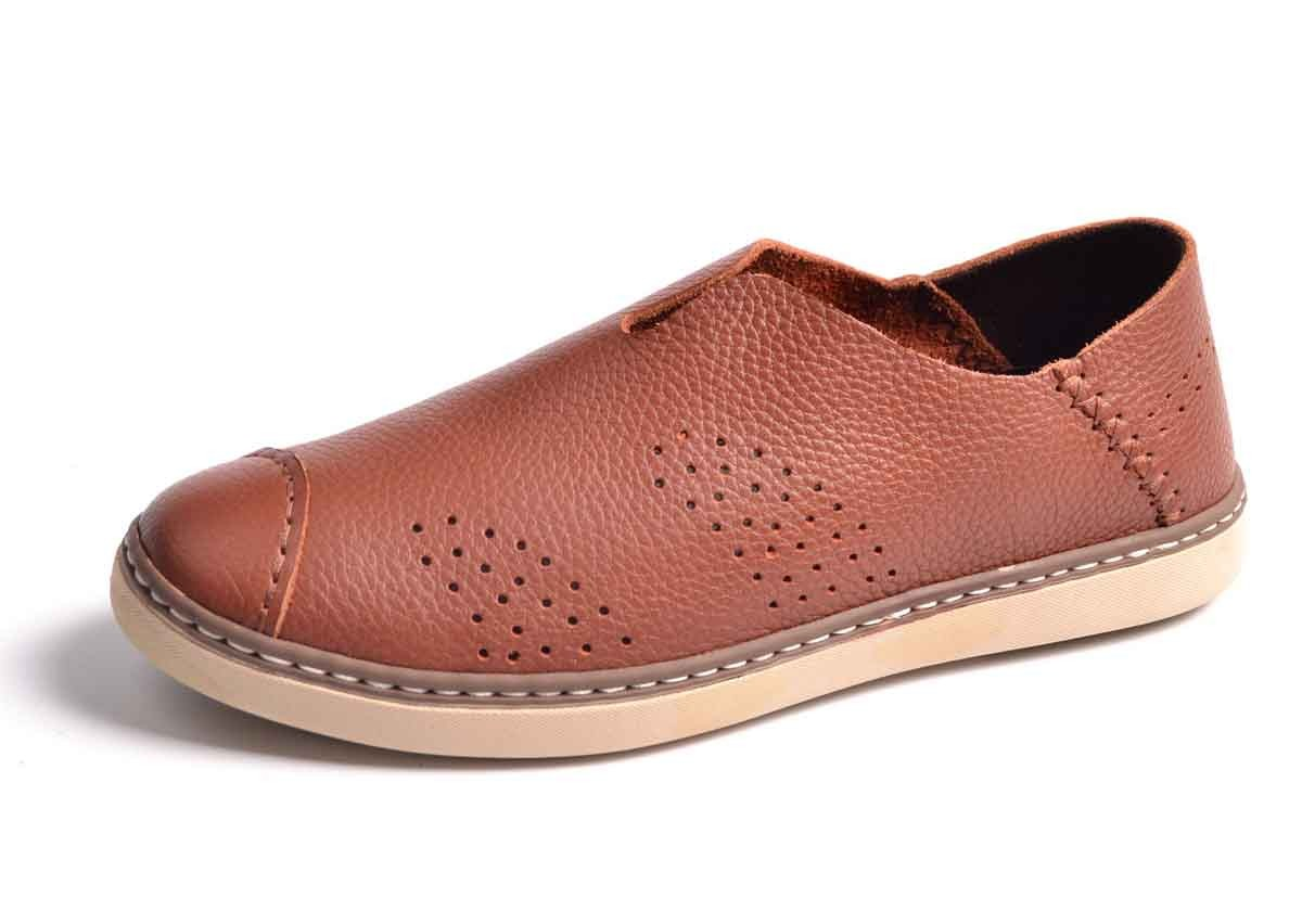 Autumn casual brown leather shoes brand
