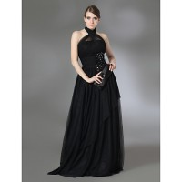 Ts Couture? Prom/Military Ball/Formal Evening Dress- Black Plus Sizes/Petite A-Line/Princess Halter/High Neck Floor-Lengthstretch Satin /
