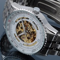 Men & #039;S Alloy Analog Mechanical Wrist Watch (Sliver)