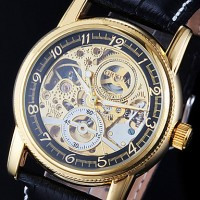 Men & #039;S Watch Auto-Mechanical Watch Gold Hollow Engraving Elegant PU Band