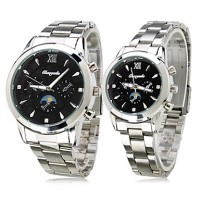 Pair Of Black Starry Sky Alloy Analog Quartz Couple Watches (Silver)