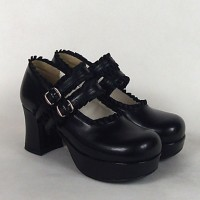PU Leather 7.5 cm High Heel Classic Lolita Shoes