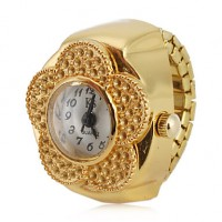 Women & #039;S Flower Style Alloy Analog Quartz Ring Watch (Gold)