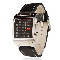 Men & #039;S PU Digital Led Wrist Watch (Black)