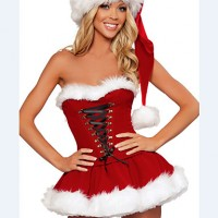 Christmas/New Year Female Santa Suits Costumes Dress/Hats