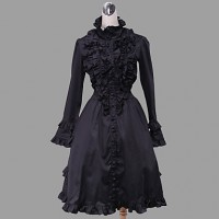 Long Sleeve Knee-Length Black Cotton Gothic Lolita Dress