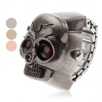 Unisex Red Eyes Skull Style Alloy Analog Quartz Ring Watch (Assorted Colors)
