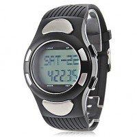 Unisex Strapless Heart Rate Monitor Black Silicone Band Digital Wrist Watch With Pedometer