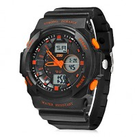 Men & #039;S Multi-Function Analog-Digital Round Dial Rubber Band Wrist Watch (Assorted Colors)