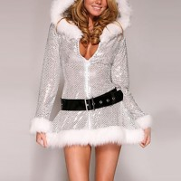 Silver Furry Women & #039;S Christmas Hooded Dress