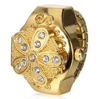 Women & #039;S Gold Flower Cover Alloy Quartz Ring Watch