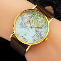 Women & #039;S Watch World Map Pattern PU Band